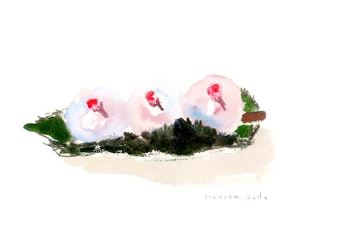 「日だまりに咲くみころもち」 270×157ミリ/紙に水彩、色鉛筆、オイルパステル